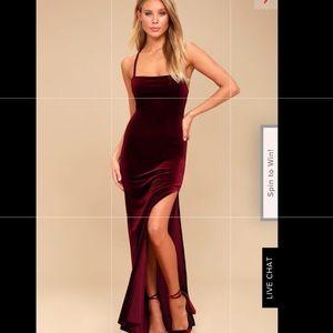 Lulu's velvet burgundy dress XS